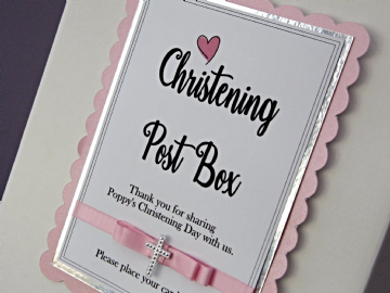 Christening Card Postbox Sign - Pink